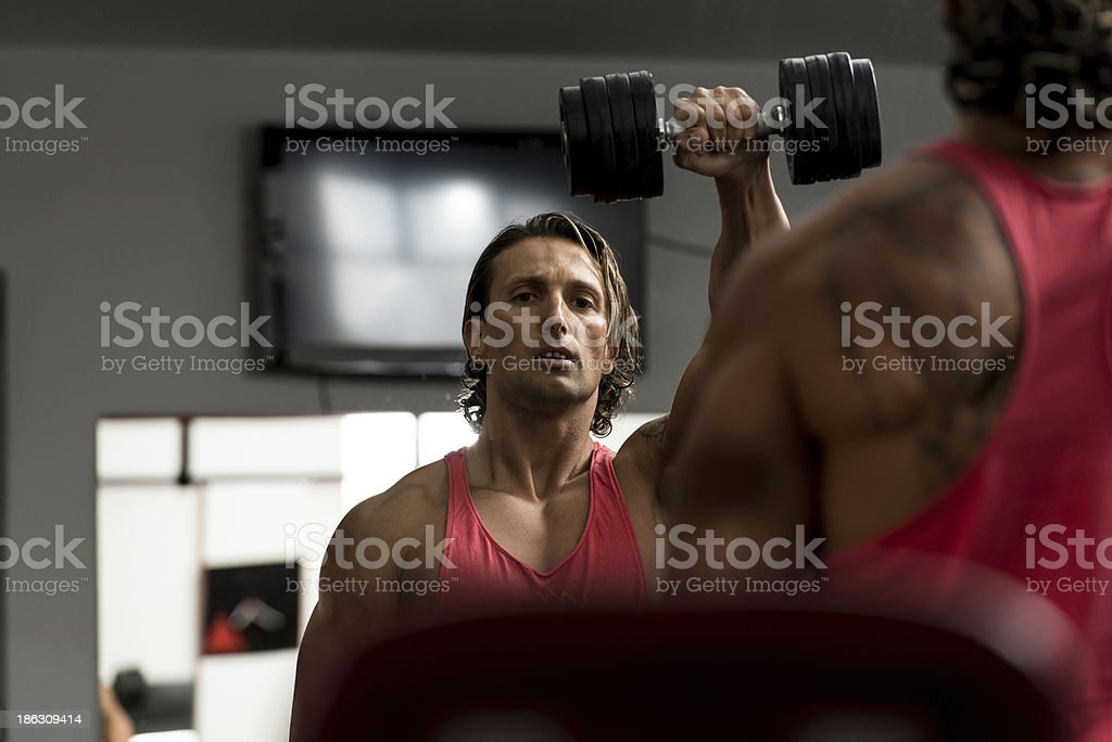Military Press with Dumbbells royalty-free stock photo