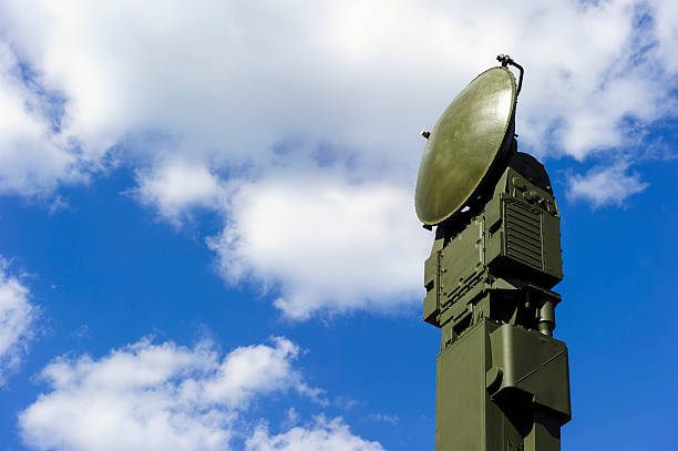 Military radar Air defense radar of military mobile mighty rocket launcher system of green color, modern army industry, white cloud and blue sky on background  antiaircraft stock pictures, royalty-free photos & images
