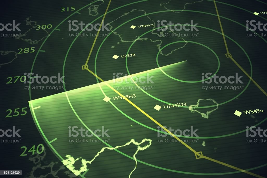 Military radar screen is scanning air traffic. 3D rendered illustration. stock photo