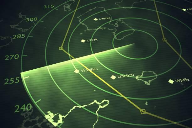 military radar screen is scanning air traffic. 3d rendered illustration. - radar foto e immagini stock