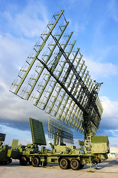 Military radars and locators Air defense radars and locators of military mobile antiaircraft systems in green color, modern army industry, beautiful clouds and blue sky on background  antiaircraft stock pictures, royalty-free photos & images