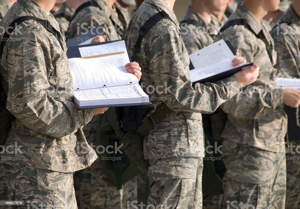 Military Recruits Outdoor Basic Training stock photo