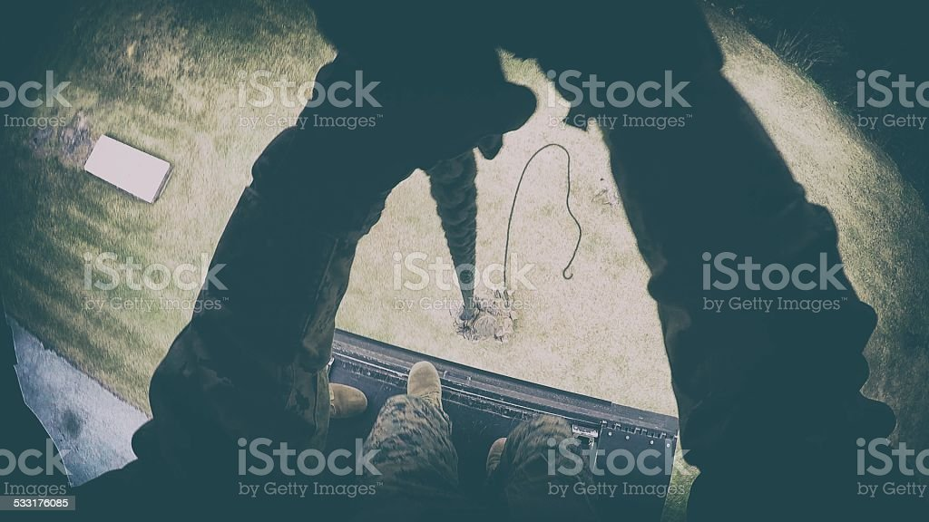 Military Repelling stock photo