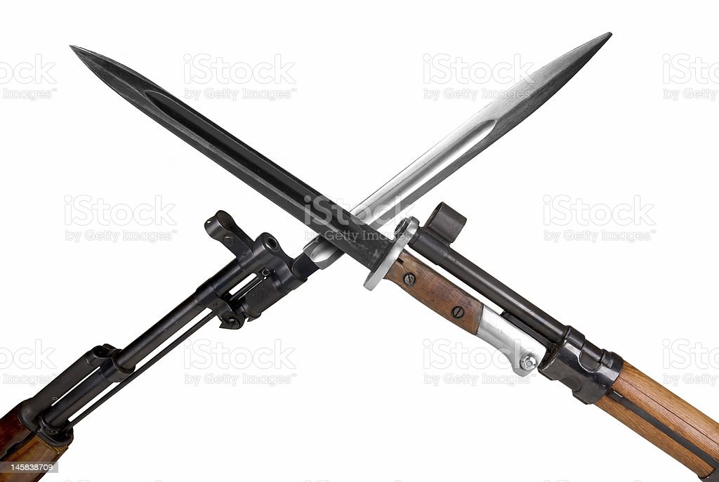 Military Rifles with bayonets stock photo