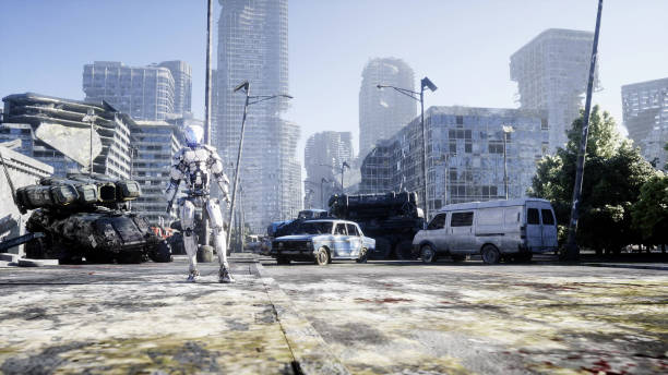 Military robot in destroyed city. Future apocalypse concept. 3d rendering. stock photo