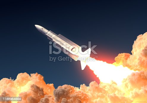 Military Rocket Launch In The Clouds Of Fire. 3D Illustration.