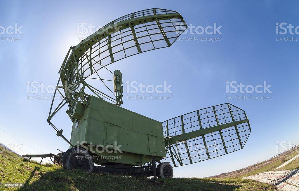 Military russian radar station against blue sky stock photo