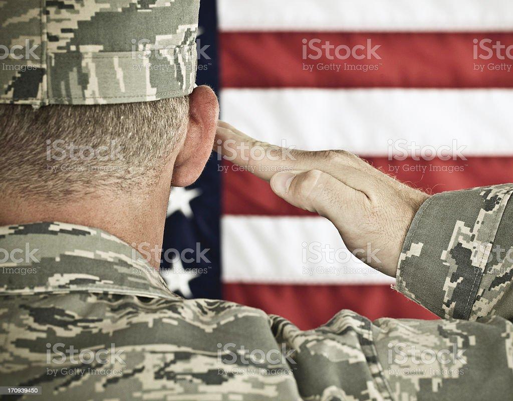 Military Salute Horizontal in Newest Uniform stock photo