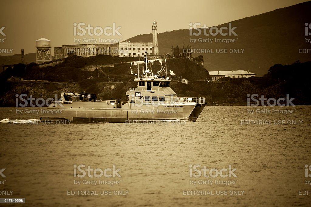 Military ship at Alcatraz stock photo