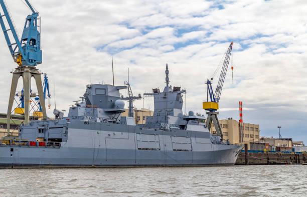 military ship in Hamburg stock photo