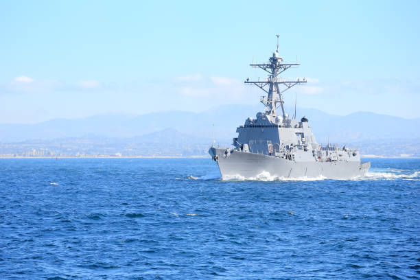 U.S. military ship stock photo