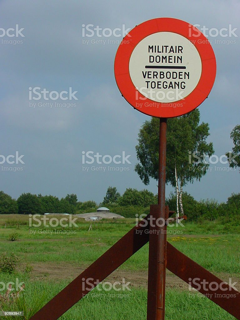 Military sign in Belgium stock photo