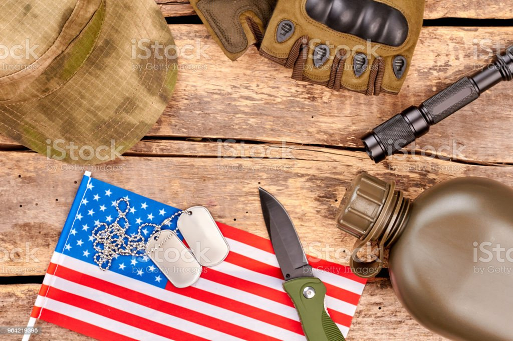 Military soldier attributes layout. stock photo
