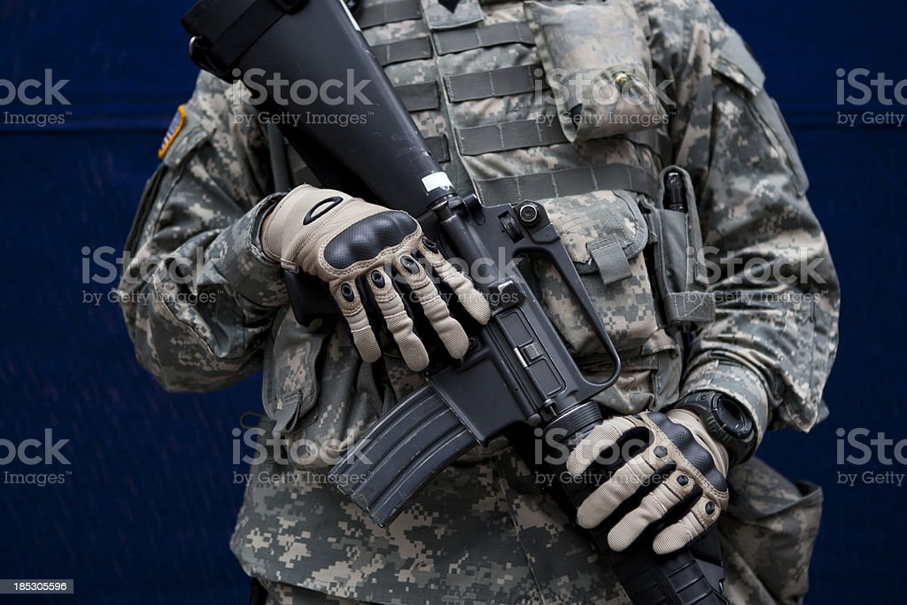 Military Soldier For People Safety In New York USA stock photo
