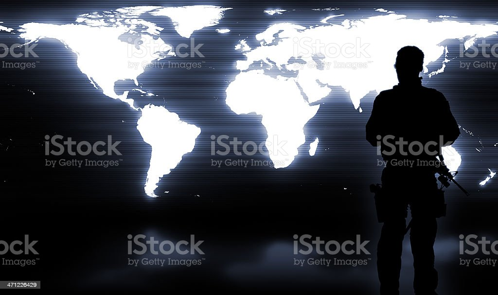 Military Soldier Guarding the World stock photo