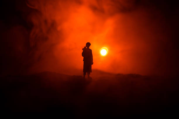 Military soldier silhouette with bazooka. War Concept. Military silhouettes fighting scene on war fog sky background, Soldier Silhouette aiming to the target at night – zdjęcie