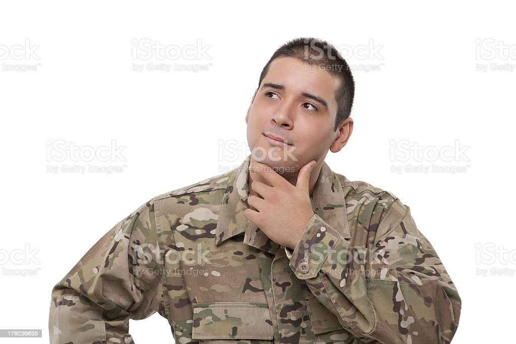 Military soldier thinking royalty-free stock photo