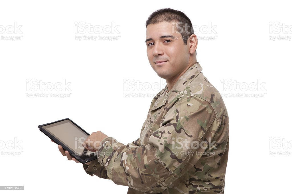 Military soldier using digital tablet royalty-free stock photo
