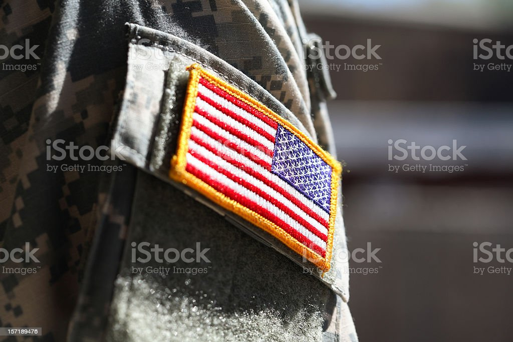 Military soldier's american flag arm patch stock photo