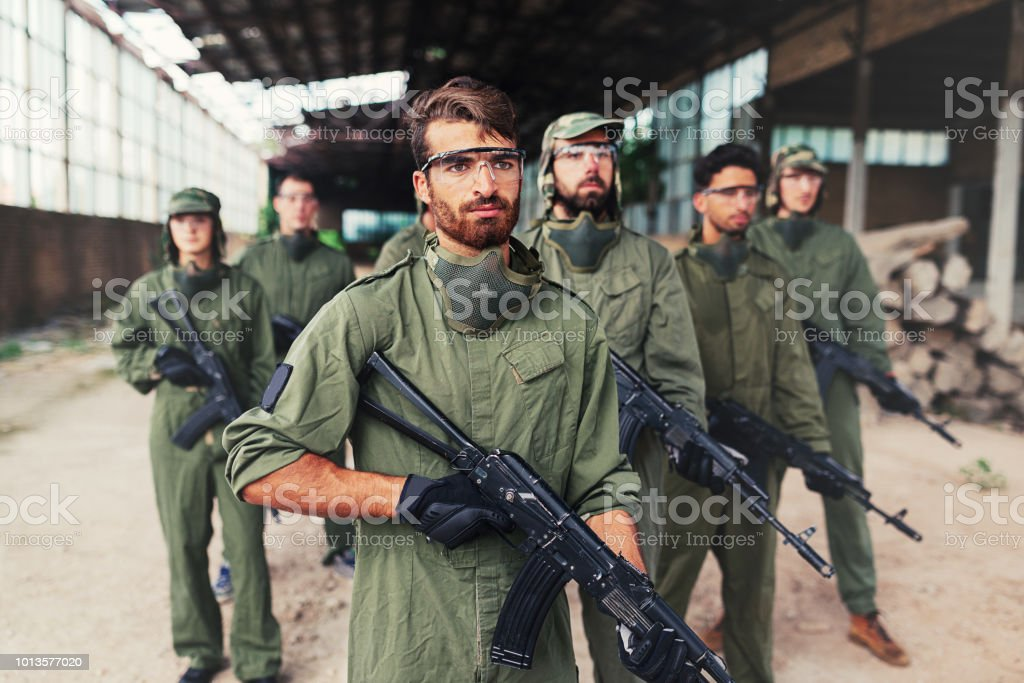 Military special forces with rifles stock photo