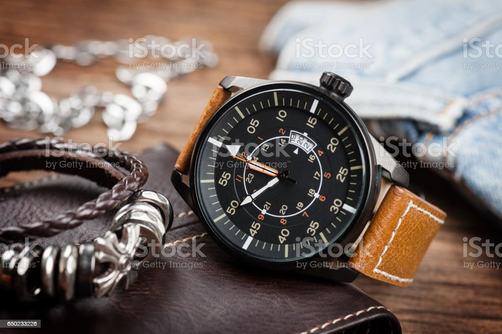 military style watch stock photo