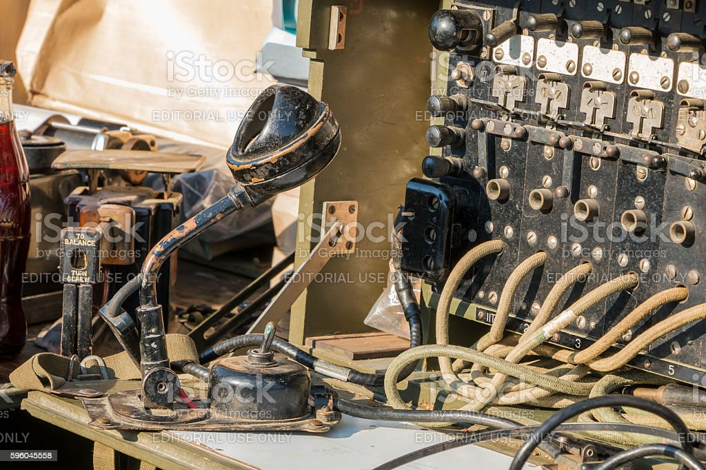 US military switchboard on display in the city - foto de acervo