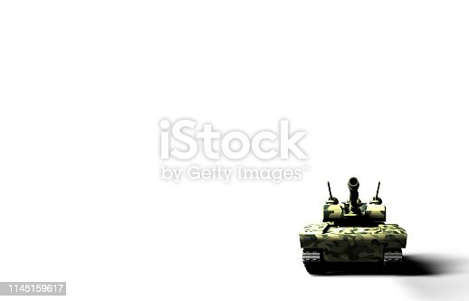 Frontal 3D render of a green military tank with camouflage texture on white background.