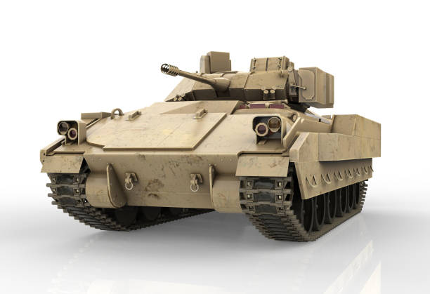 Military Tank isolated on white background - 3D Render stock photo