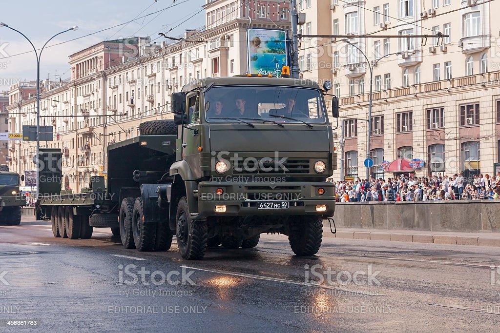 Military tank transporter KAMAZ 65225 in motorcade during parade royalty-free stock photo
