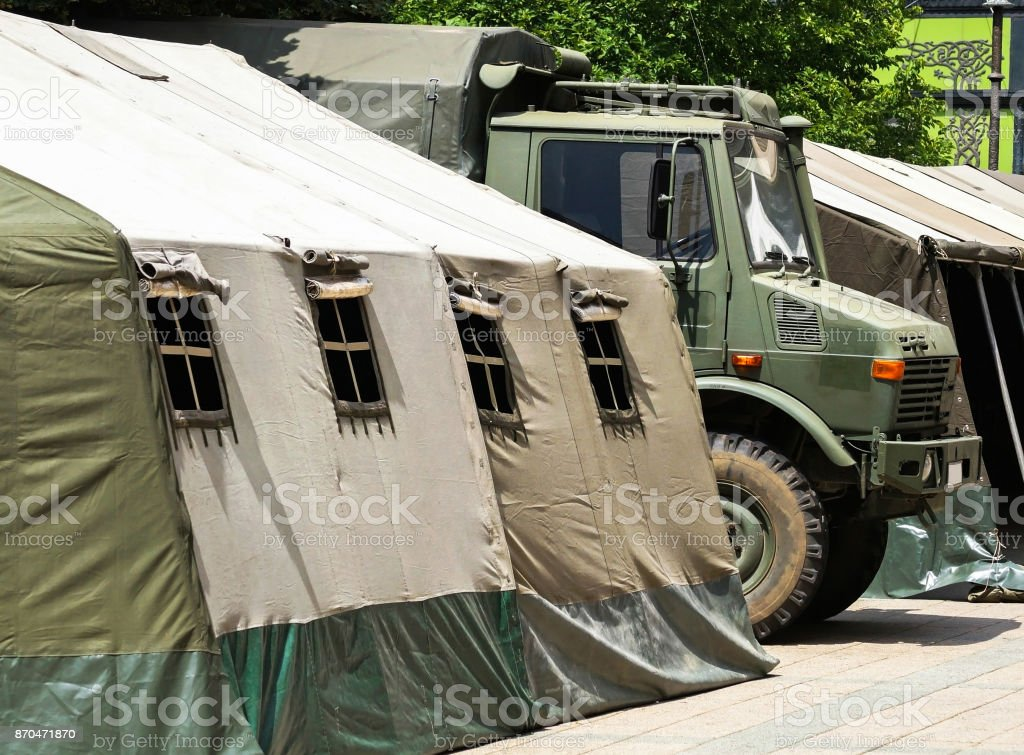 Military tent stock photo