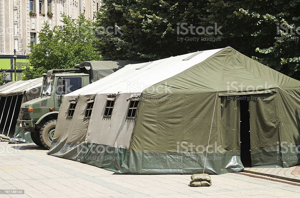 military tents and truck stock photo