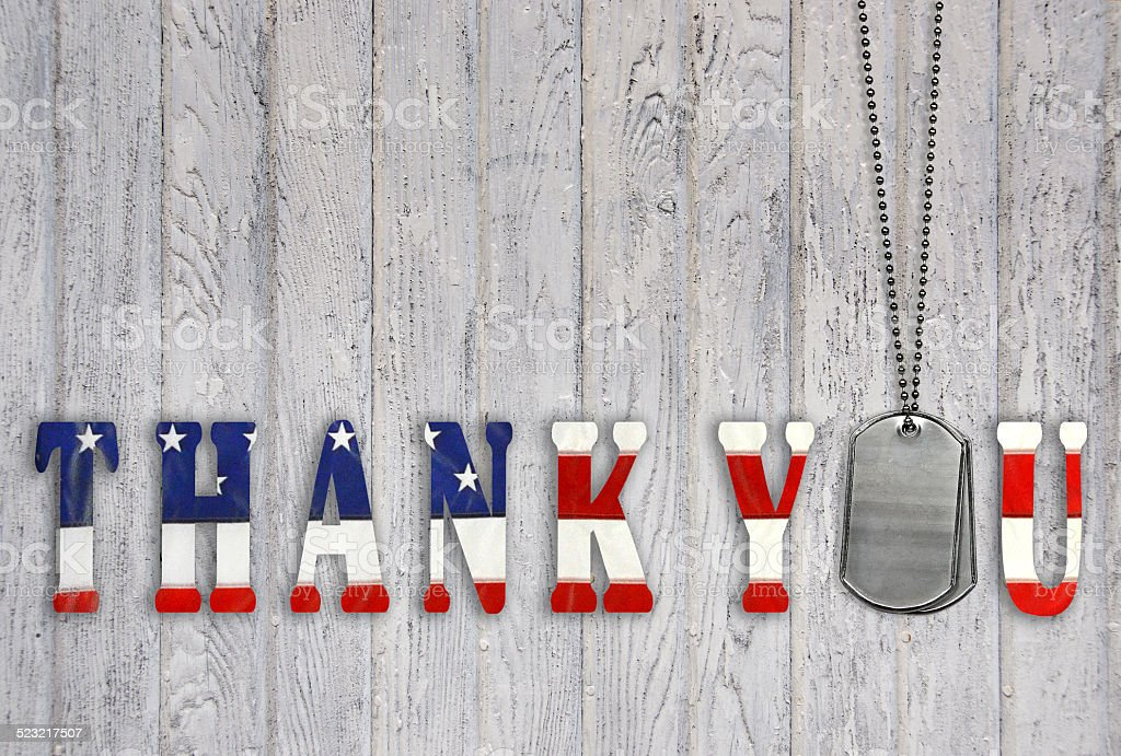 military thank you with dog tags stock photo