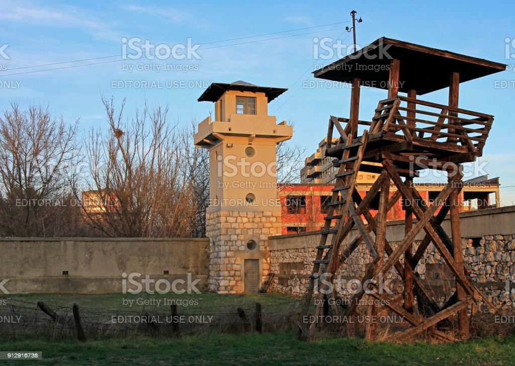 Military towers of the former Red cross concentration camp stock photo