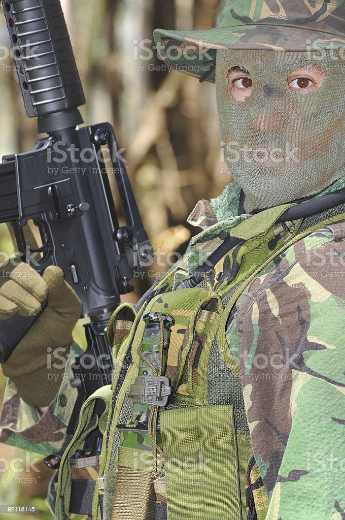 Military training combat, portrait shot royalty-free stock photo
