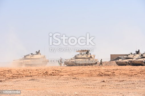 Sde Boker, Israel:October 8, 2018:In the picture you can see the new Israeli tank - Merkava Mark 4 . Merkava Mark 4 is the fourth and most advanced model of the Merkava tank. The photograph was taken on Road 40, 5 minutes drive north of Sde Boker