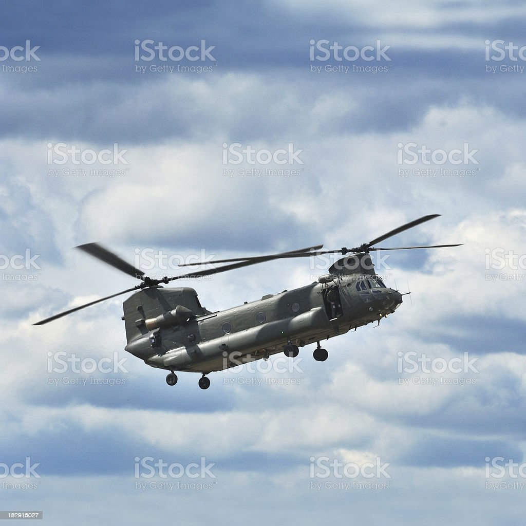Military Transport Helicopter Chinook (side view) stock photo