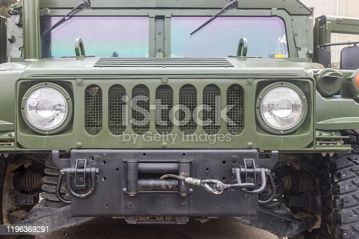 military tranport truck, front view