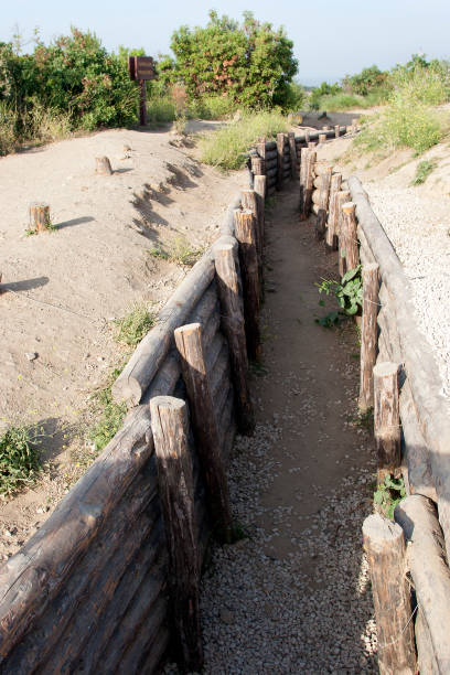 military trench, in the Gallipoli Battle fields in Turkey stock photo