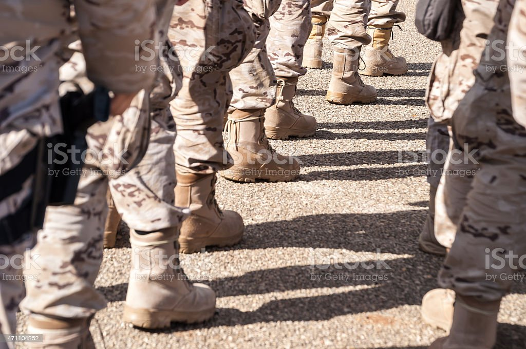 Military troops in formation stock photo