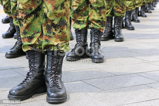 istock Military troops standing in line 936338380