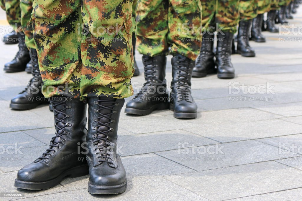 Military troops standing in line stock photo