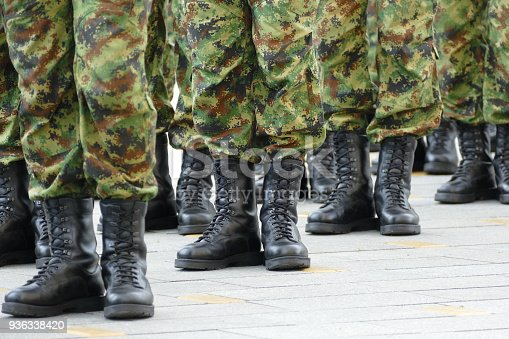 istock Military troops standing in line 936338420