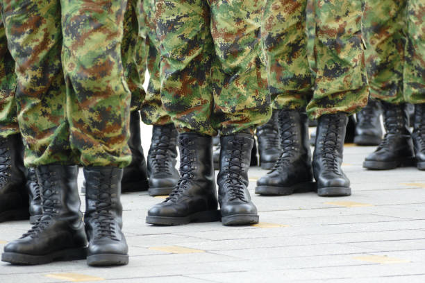 Military troops standing in line Military troops standing in line military parade stock pictures, royalty-free photos & images