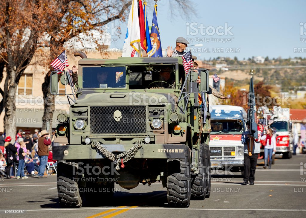 Military Truck in Parade stock photo