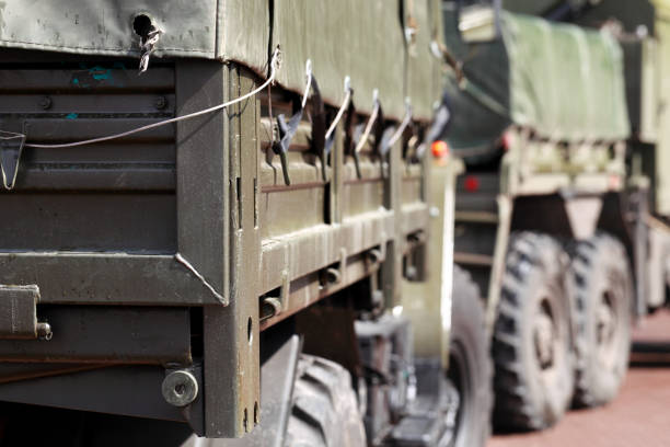Military truck with a trailer stock photo