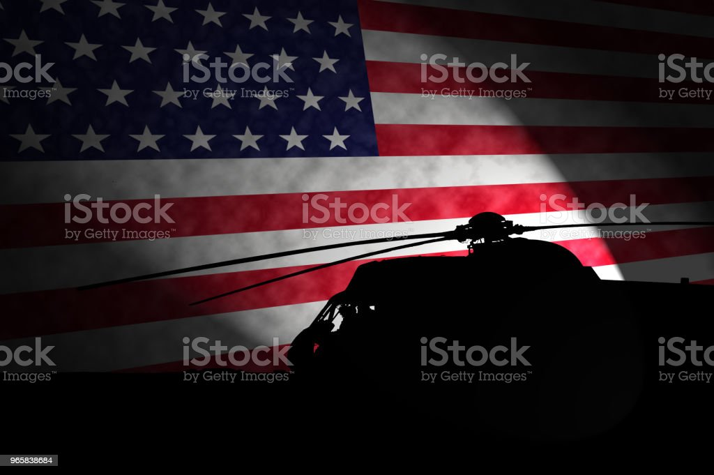 Militaire silohuette van de UH - 3H Sea King Helicopter tegenover de Amerikaanse vlag. Memorial Day - Royalty-free Achtergrond - Thema Stockfoto