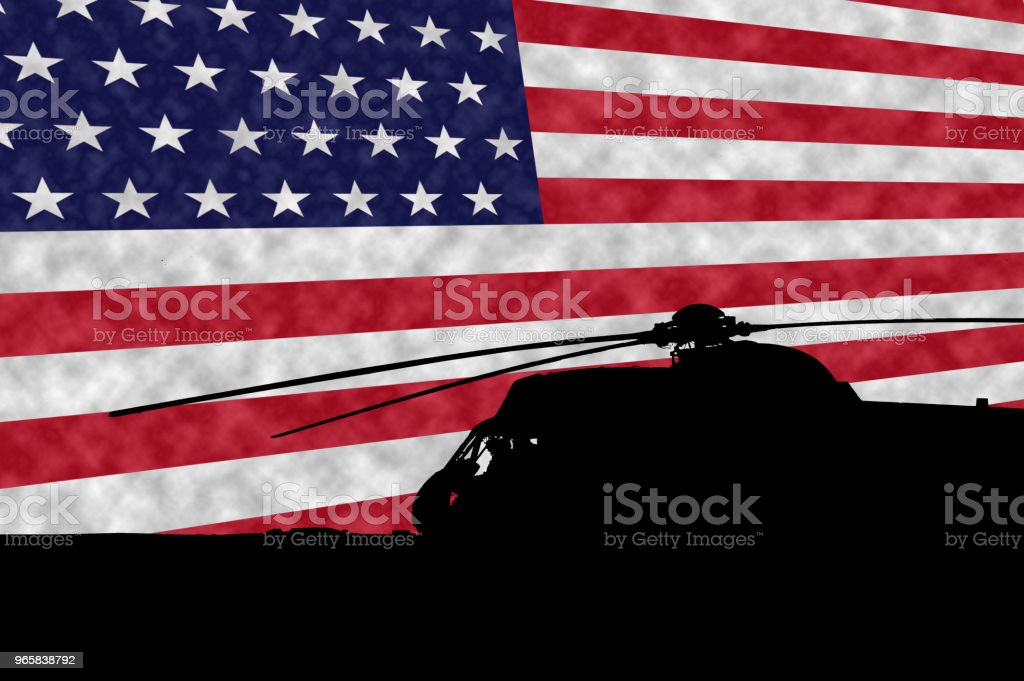 Military UH-3H Sea King Helicopter silohuette in front of the american flag. Memorial Day - Royalty-free Argentina Foto de stock