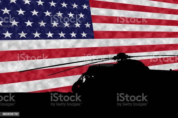 Military Uh3h Sea King Helicopter Silohuette In Front Of The American Flag Memorial Day - Fotografias de stock e mais imagens de Argentina
