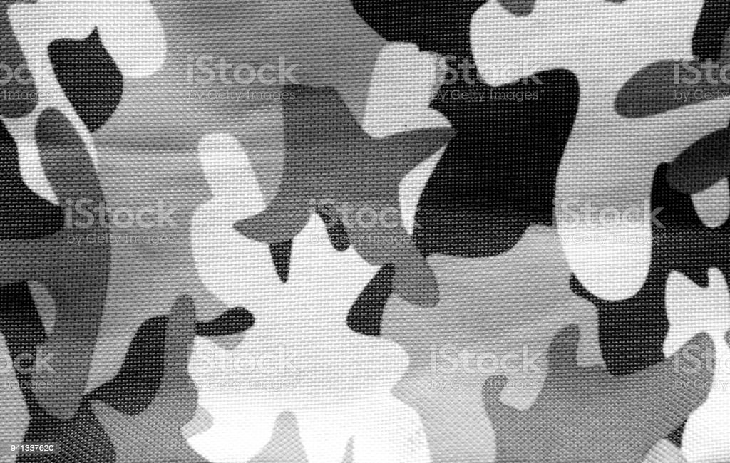 Military uniform pattern in black and white. stock photo