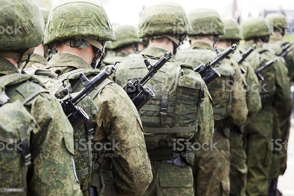 Military uniform soldier row stock photo